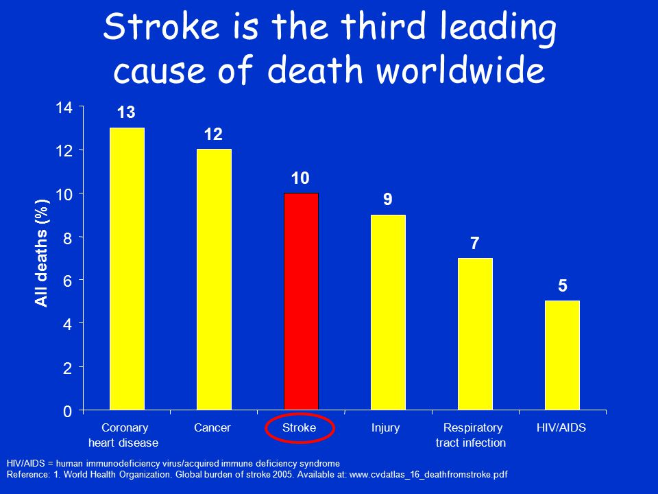 Stroke is the third leading cause of death worldwide