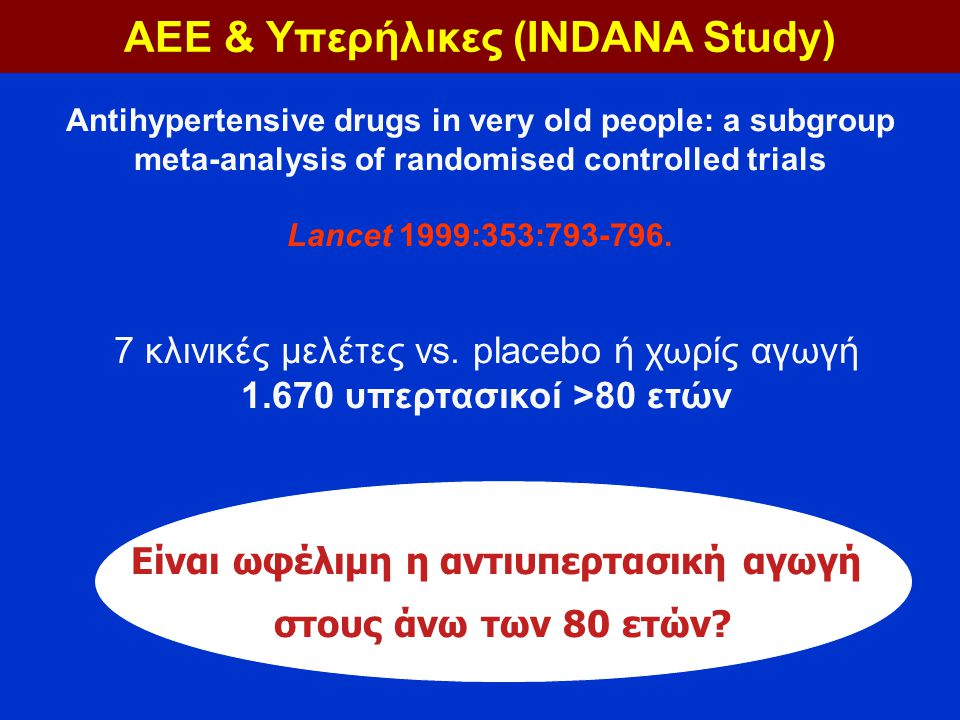ΑΕΕ & Υπερήλικες (INDANA Study) Είναι ωφέλιμη η αντιυπερτασική αγωγή