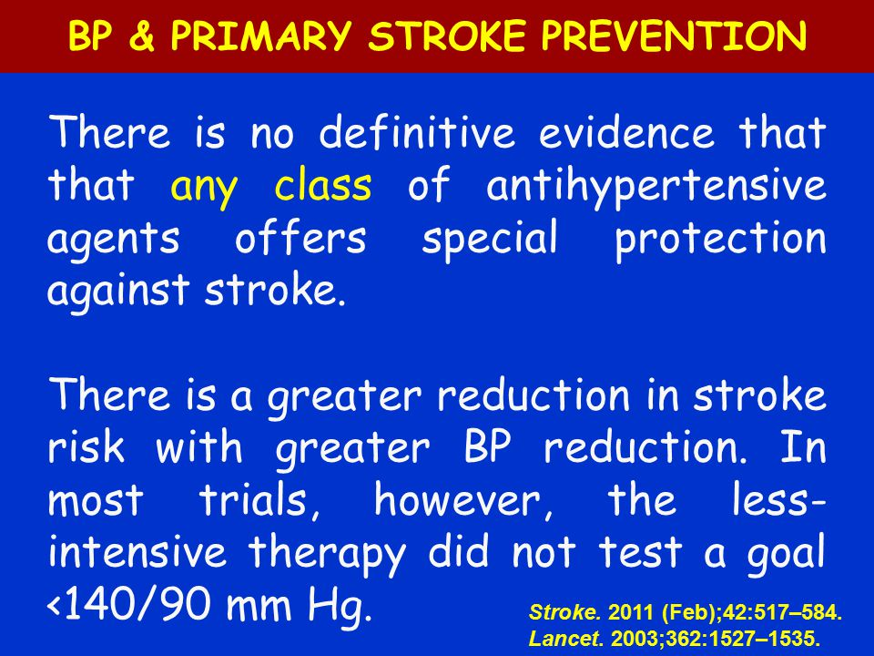 BP & PRIMARY STROKE PREVENTION