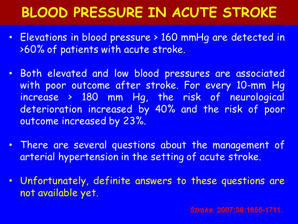 BLOOD PRESSURE IN ACUTE STROKE