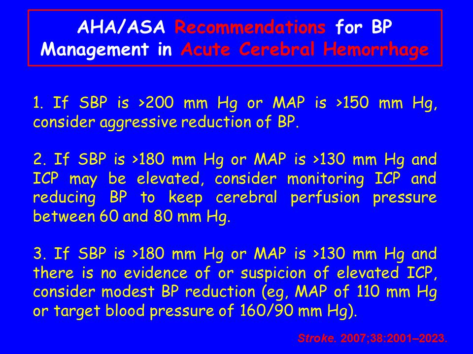 AHA/ASA Recommendations for BP Management in Acute Cerebral Hemorrhage