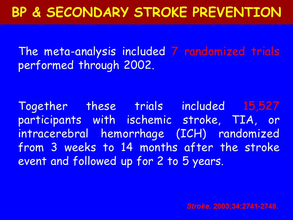 BP & SECONDARY STROKE PREVENTION