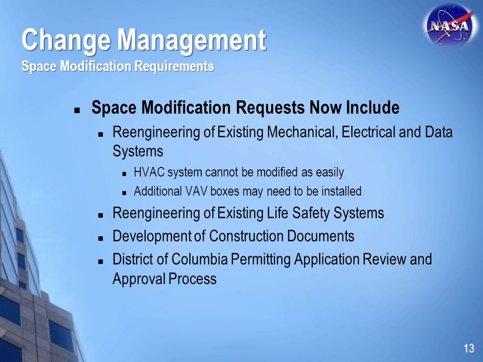 Change Management Space Modification Requirements