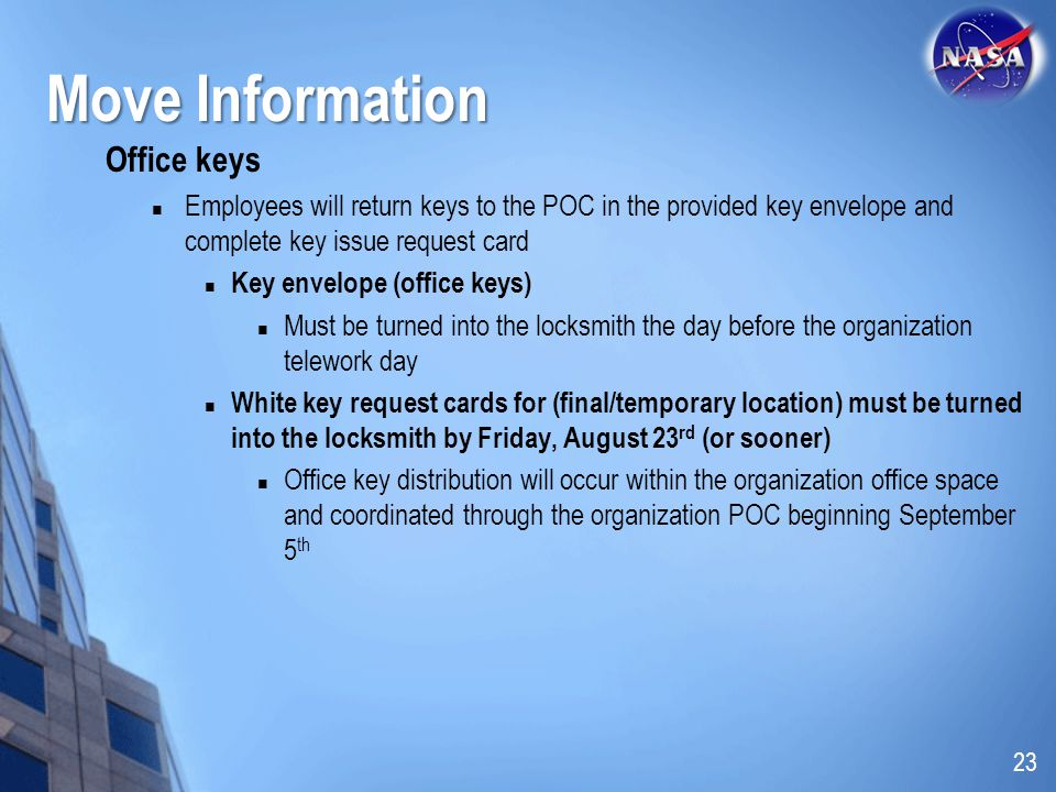 Move Information Office keys