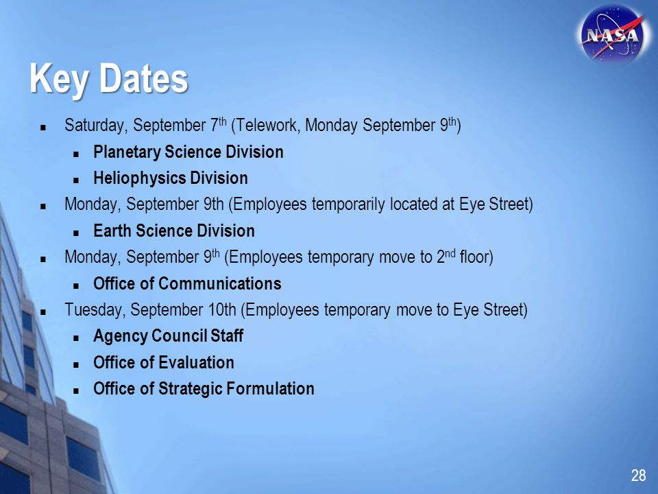Key Dates Saturday, September 7th (Telework, Monday September 9th)