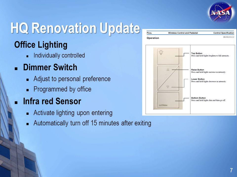 HQ Renovation Update Office Lighting Dimmer Switch Infra red Sensor