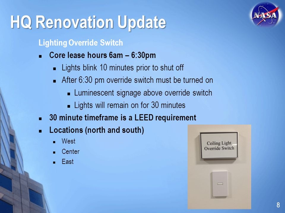 HQ Renovation Update Lighting Override Switch