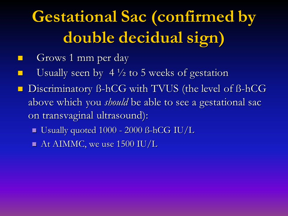 Gestational Sac (confirmed by double decidual sign)