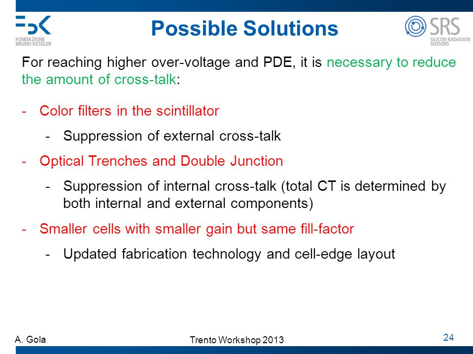 Possible Solutions For reaching higher over-voltage and PDE, it is necessary to reduce the amount of cross-talk: