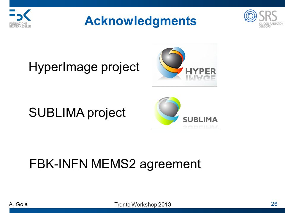 Acknowledgments HyperImage project SUBLIMA project FBK-INFN MEMS2 agreement