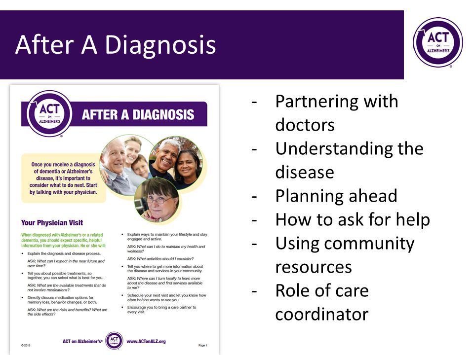 After A Diagnosis Partnering with doctors Understanding the disease