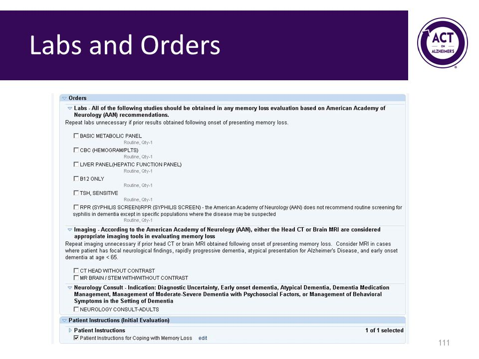 Labs and Orders Speaker Notes: