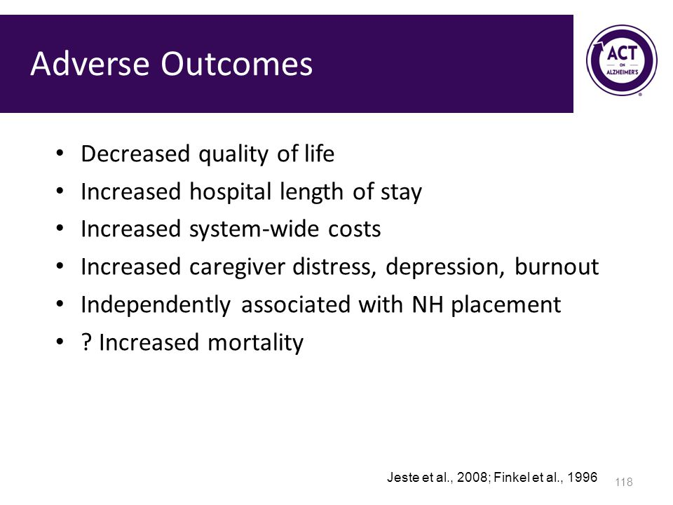 Adverse Outcomes Decreased quality of life