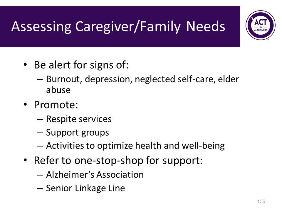 Assessing Caregiver/Family Needs