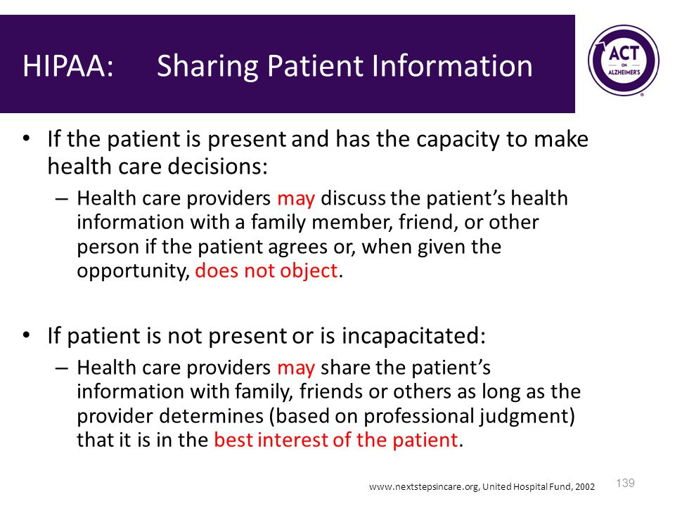 HIPAA: Sharing Patient Information