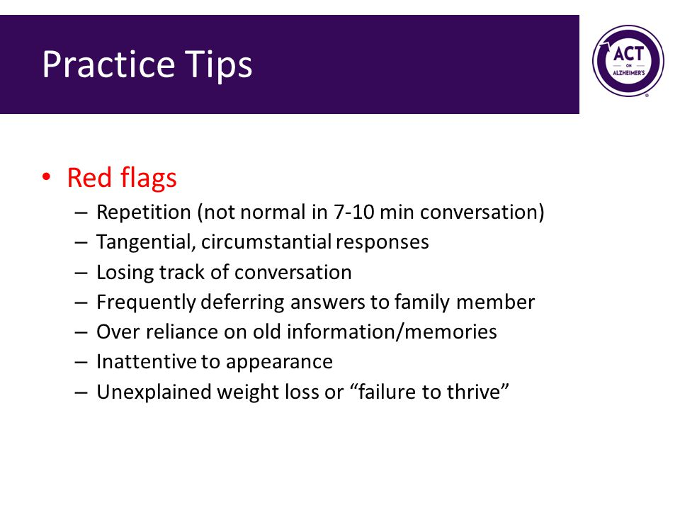 Practice Tips Red flags