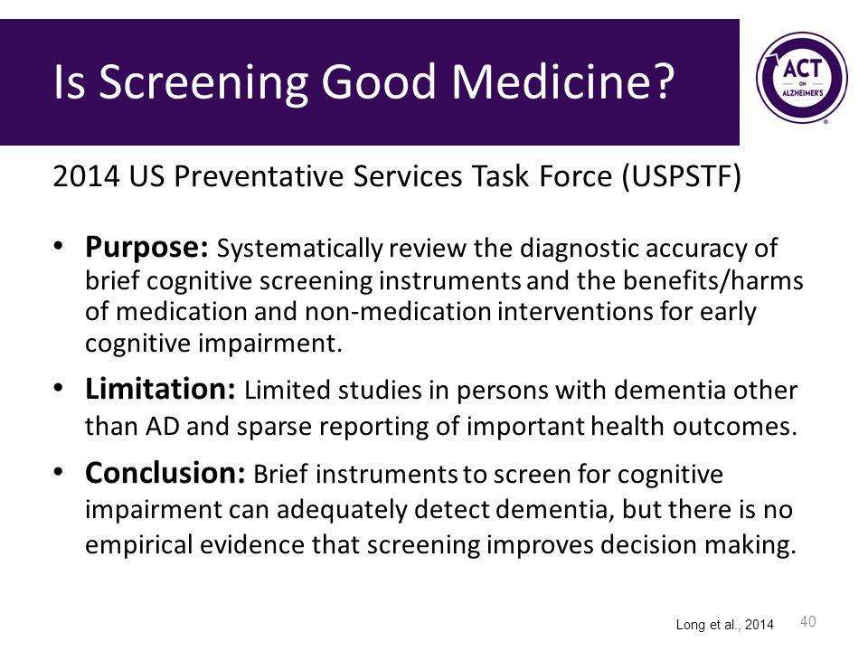 Is Screening Good Medicine