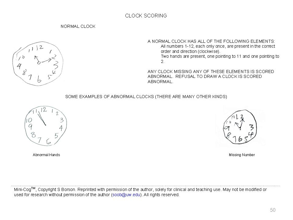 Speaker Notes: This is screen shot of one of a variety of Mini-Cog forms available (many of which can be found online)