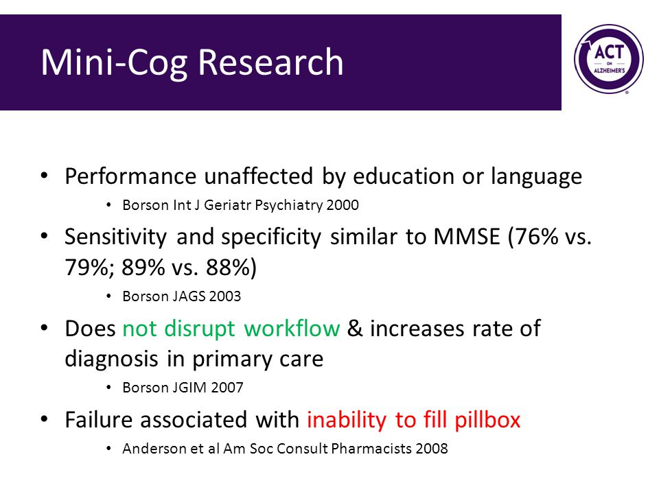 Mini-Cog Research Performance unaffected by education or language