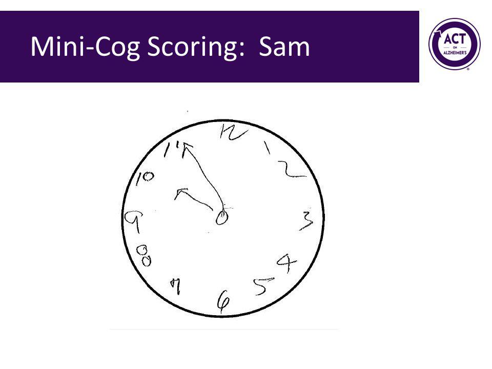 Mini-Cog Scoring: Sam Speaker Notes: This clock is scored as a 0