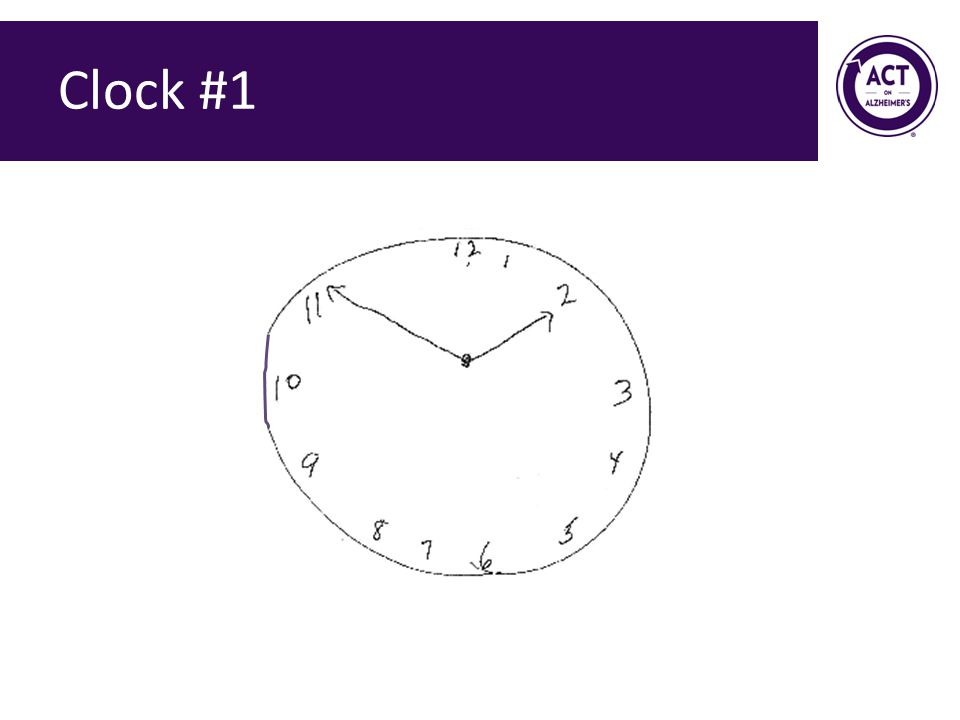 Clock #1 Speaker Notes: Ask the audience how they would score this clock. Score = 0 points.