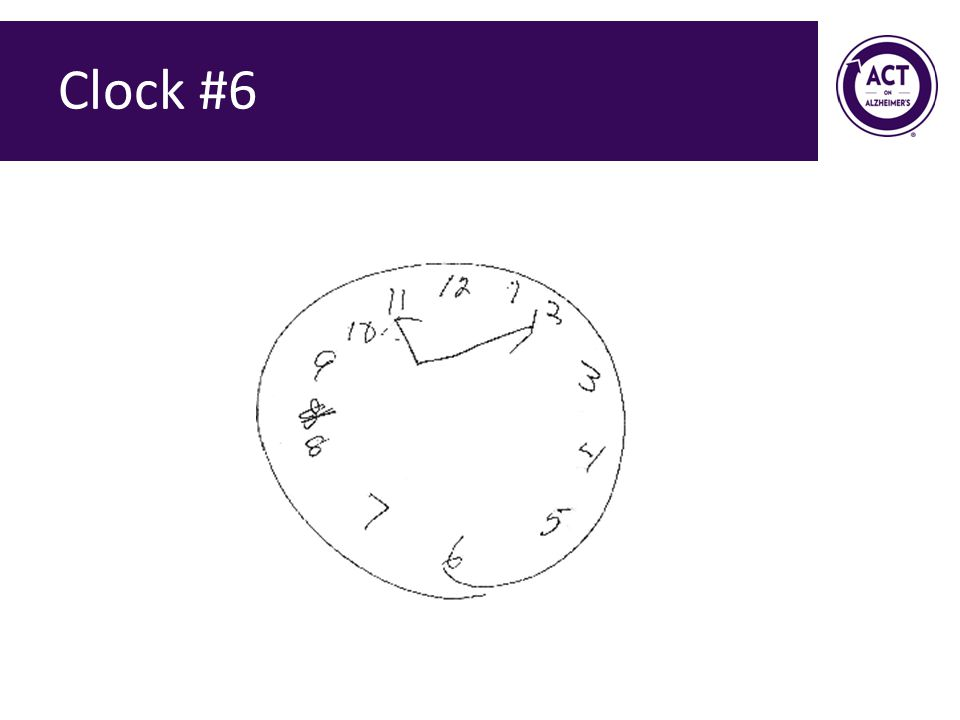 Clock #6 Speaker Notes: Ask the audience how they would score this clock. Score = 2 points.