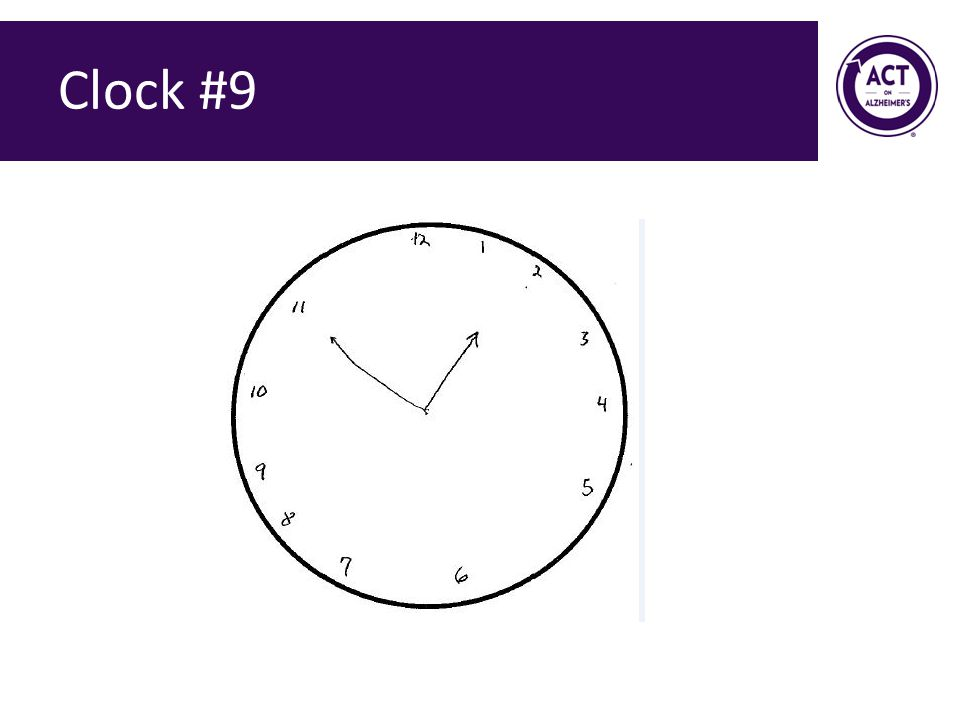 Clock #9 Speaker Notes: Ask the audience how they would score this clock. Score = 0 points.