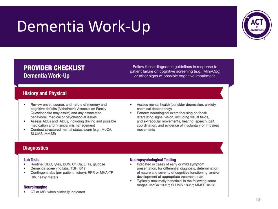 Dementia Work-Up Speaker Notes: