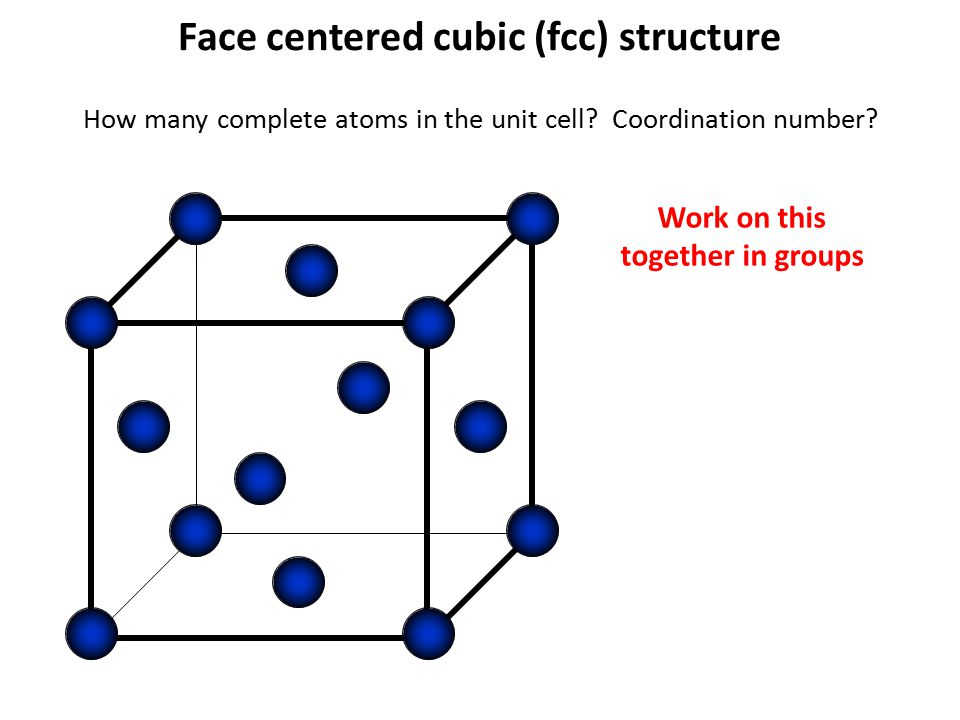 Face centered cubic (fcc) structure
