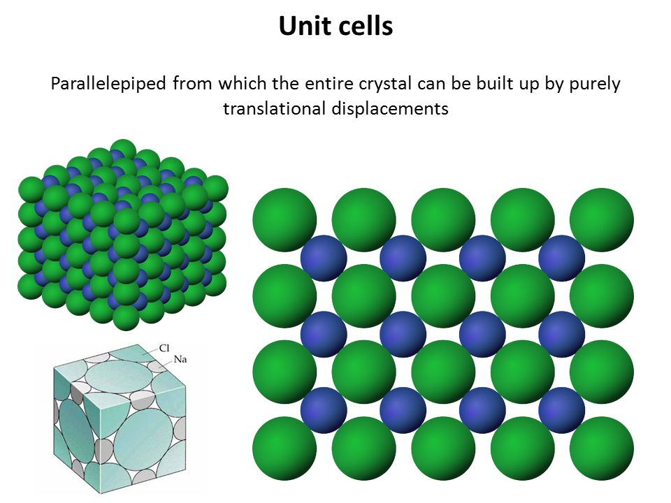 Unit cells Parallelepiped from which the entire crystal can be built up by purely translational displacements.