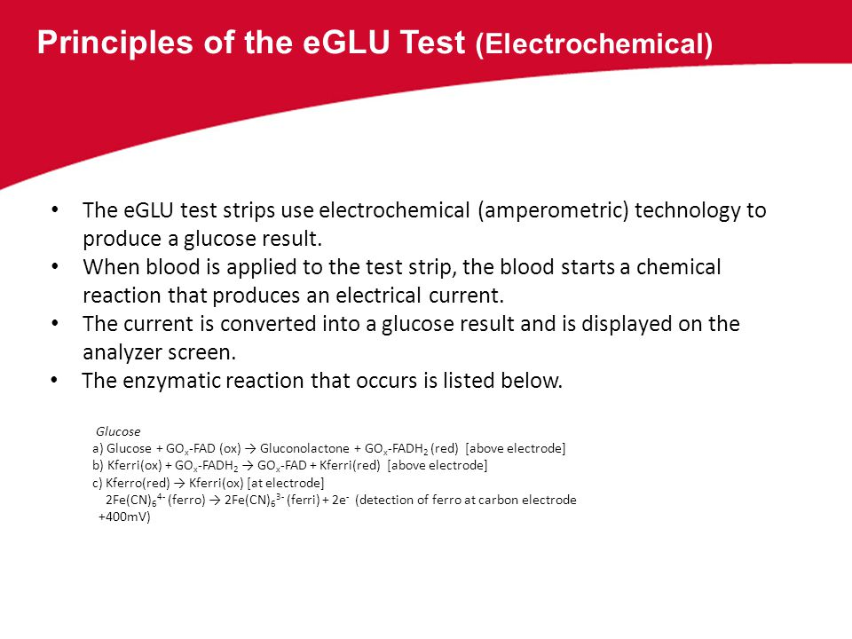Principles of the eGLU Test (Electrochemical)