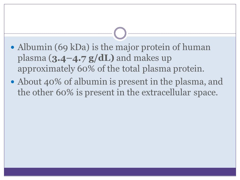 Albumin (69 kDa) is the major protein of human plasma (3. 4–4