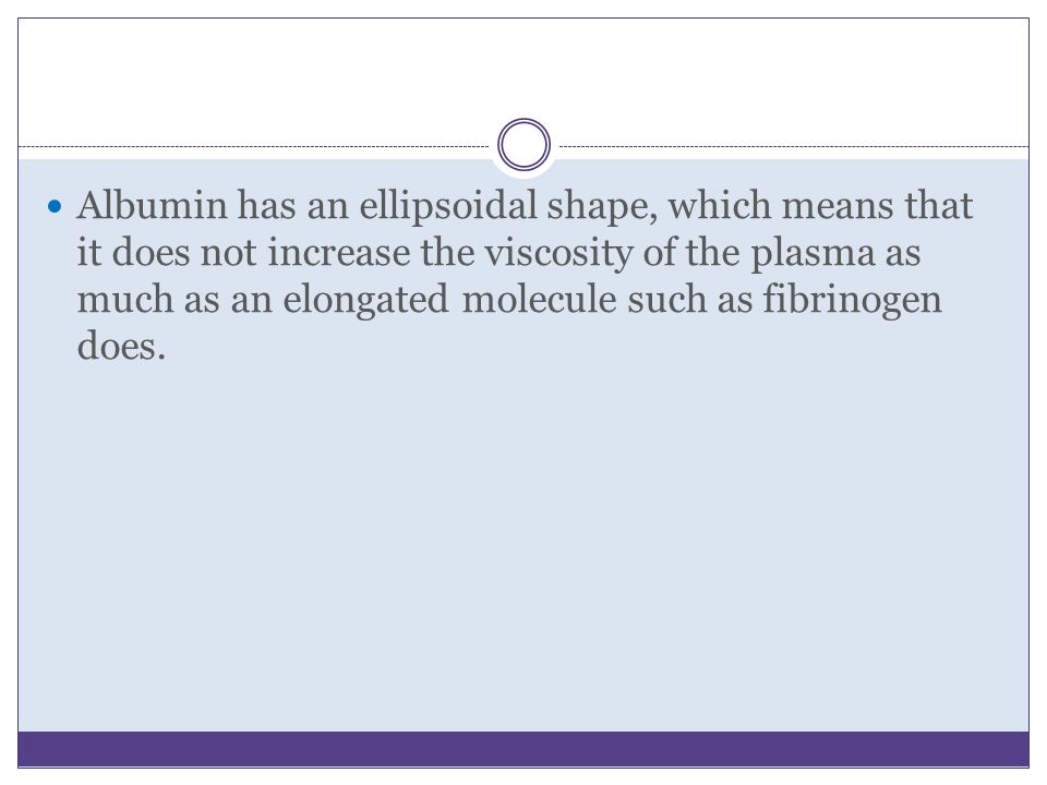 Albumin has an ellipsoidal shape, which means that it does not increase the viscosity of the plasma as much as an elongated molecule such as fibrinogen does.