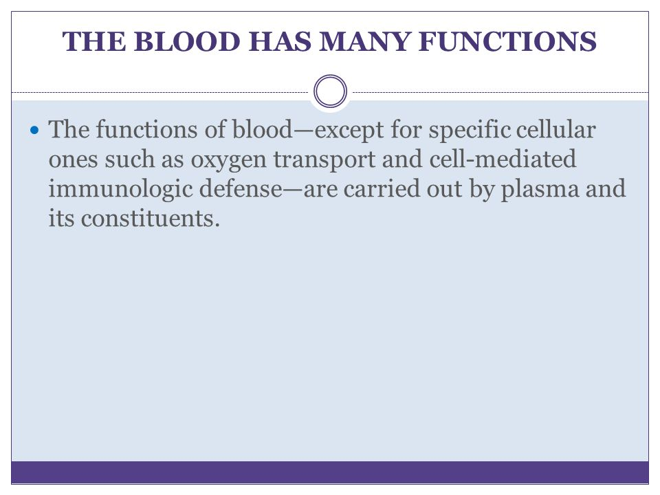 THE BLOOD HAS MANY FUNCTIONS