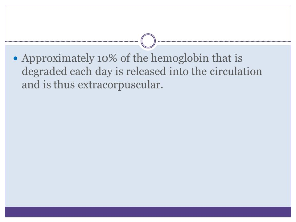 Approximately 10% of the hemoglobin that is degraded each day is released into the circulation and is thus extracorpuscular.