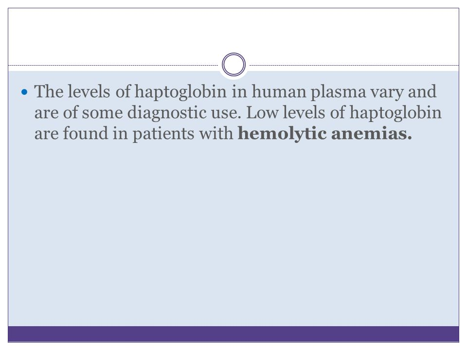 The levels of haptoglobin in human plasma vary and are of some diagnostic use.