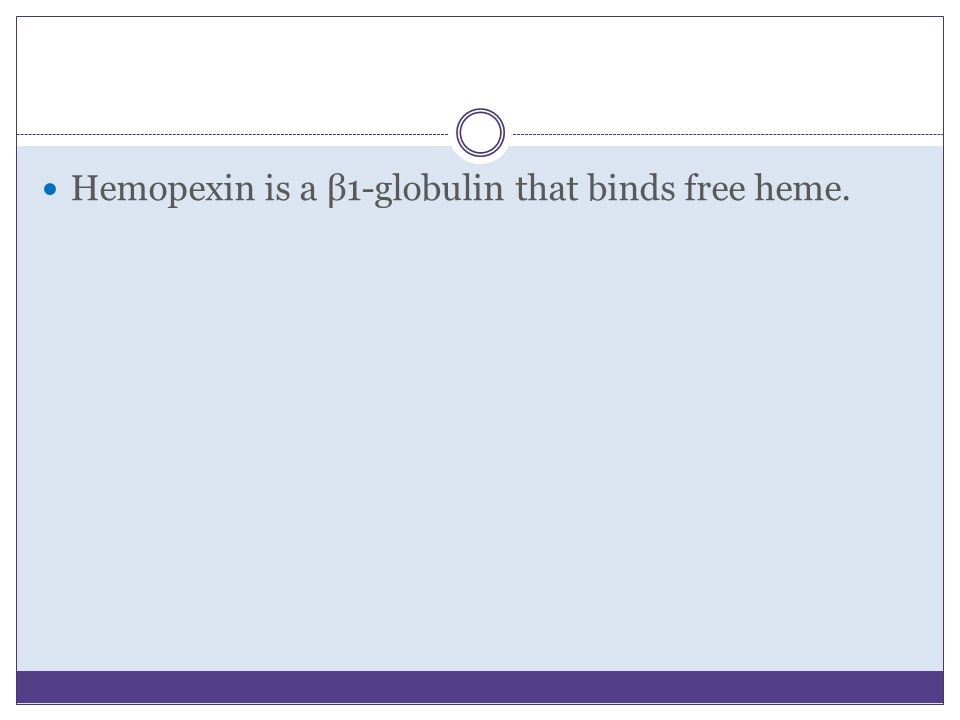 Hemopexin is a β1-globulin that binds free heme.