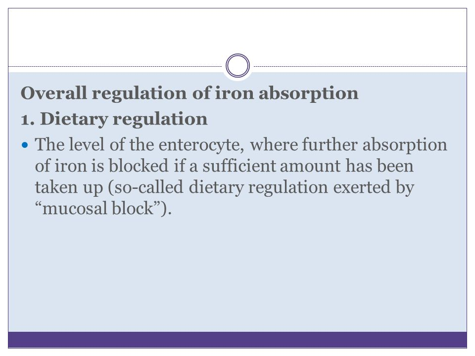 Overall regulation of iron absorption