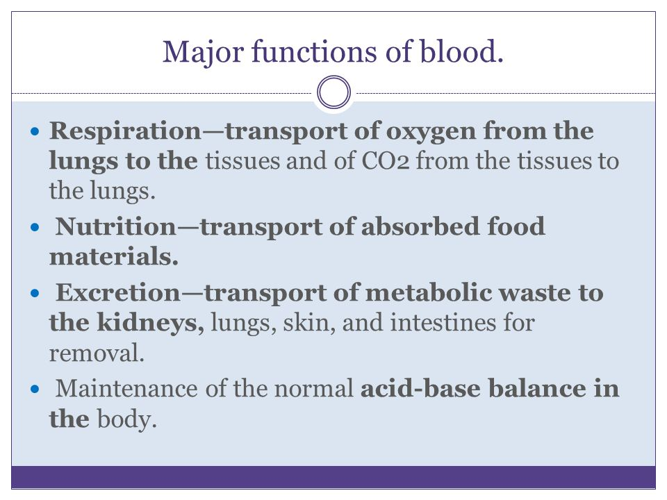Major functions of blood.