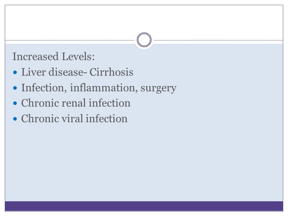 Increased Levels: Liver disease- Cirrhosis. Infection, inflammation, surgery. Chronic renal infection.