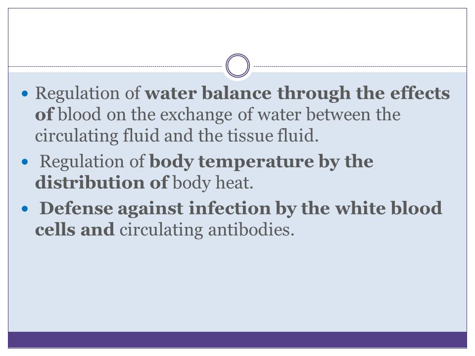 Regulation of water balance through the effects of blood on the exchange of water between the circulating fluid and the tissue fluid.