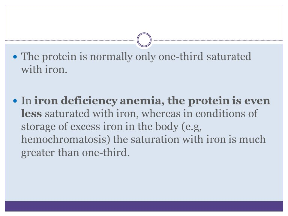 The protein is normally only one-third saturated with iron.