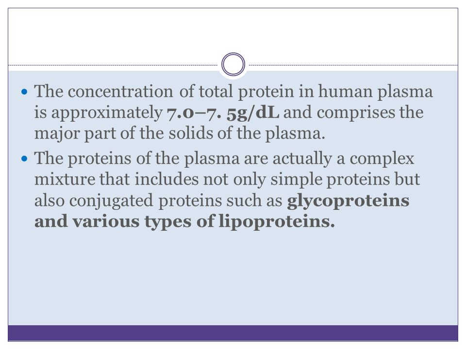 The concentration of total protein in human plasma is approximately 7