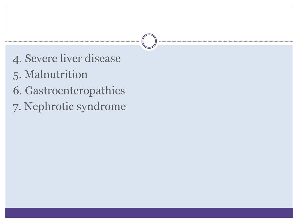 4. Severe liver disease 5. Malnutrition 6. Gastroenteropathies 7