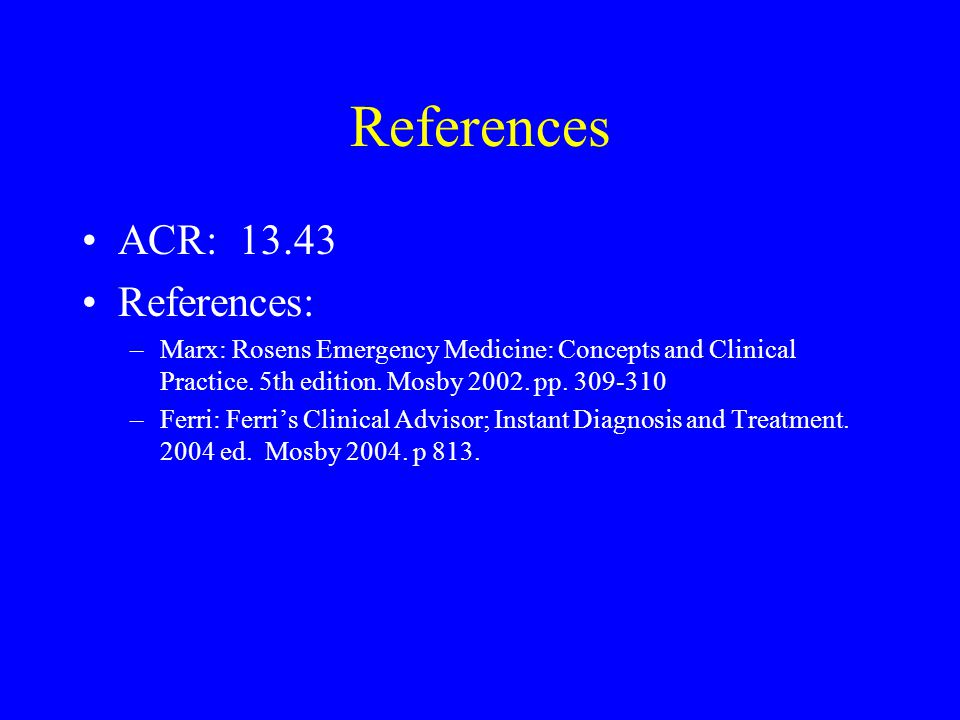 References ACR: 13.43 References: