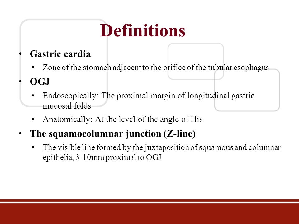 Definitions Gastric cardia OGJ The squamocolumnar junction (Z-line)