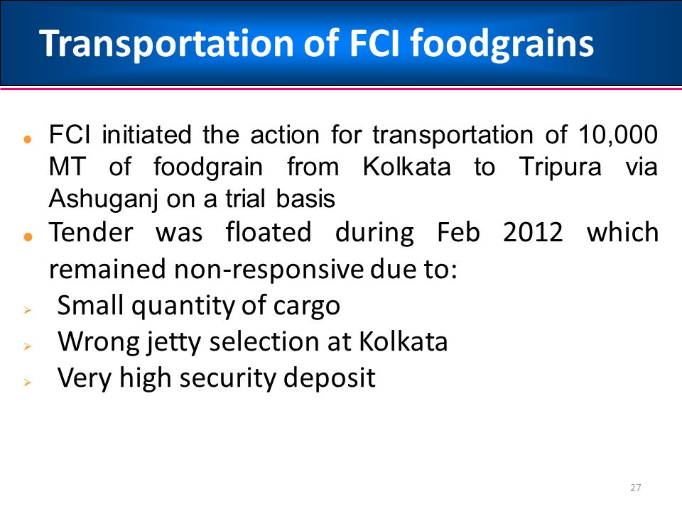 Transportation of FCI foodgrains