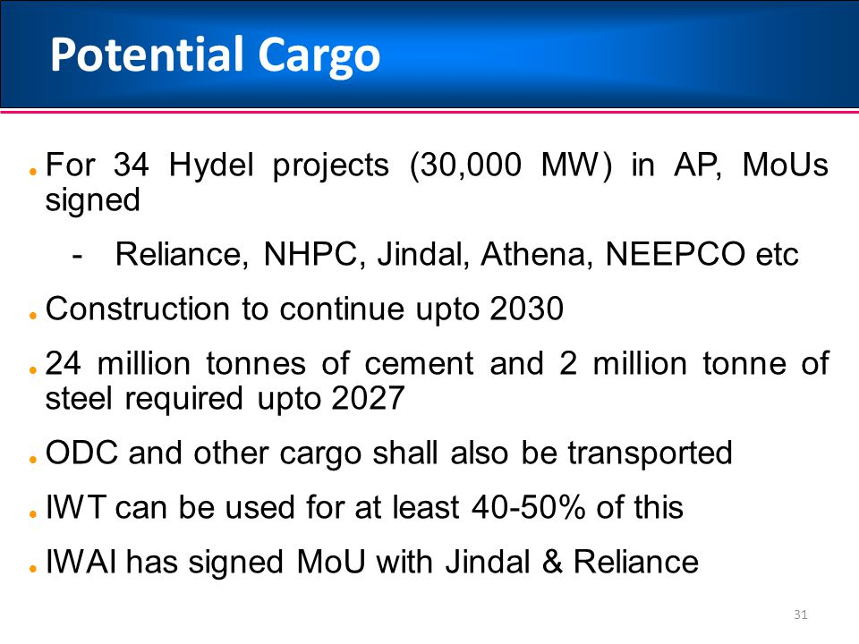 Potential Cargo For 34 Hydel projects (30,000 MW) in AP, MoUs signed
