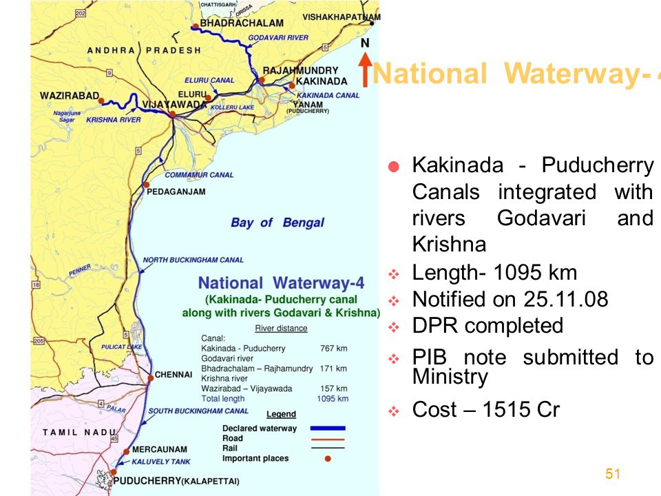 National Waterway- 4 Kakinada - Puducherry Canals integrated with rivers Godavari and Krishna. Length- 1095 km.