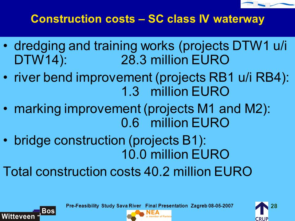 Construction costs – SC class IV waterway
